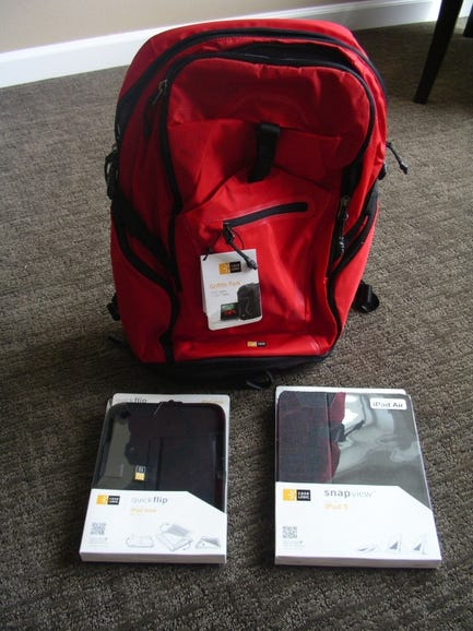 Case Logic Griffith Park backpack, QuickFlip for iPad Mini, and SnapView for iPad Air