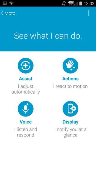 Moto app setup screen