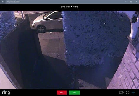 Looking out over our front path from the Ring camera over the door.