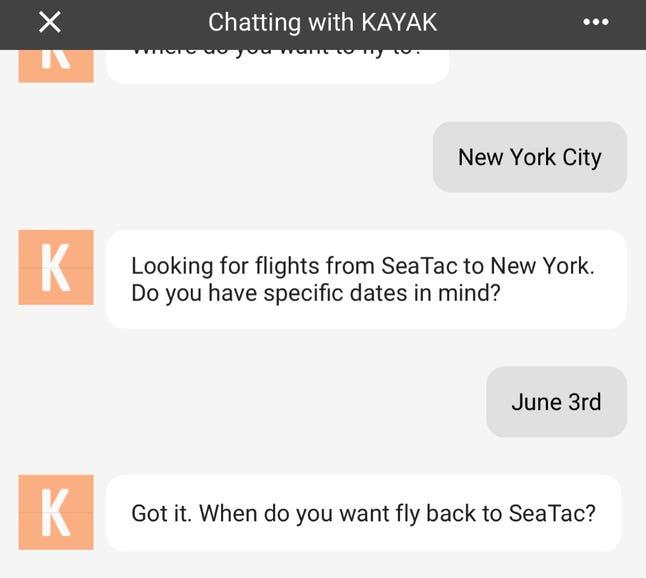 Chatting with Kayak