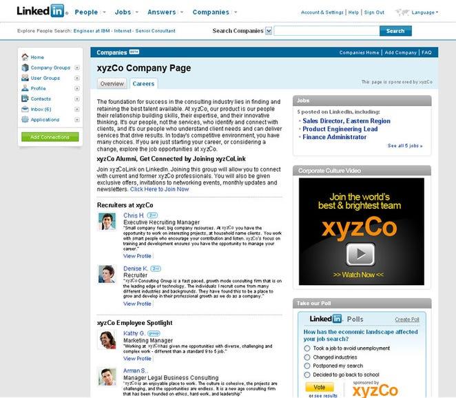 Optimised company profile page