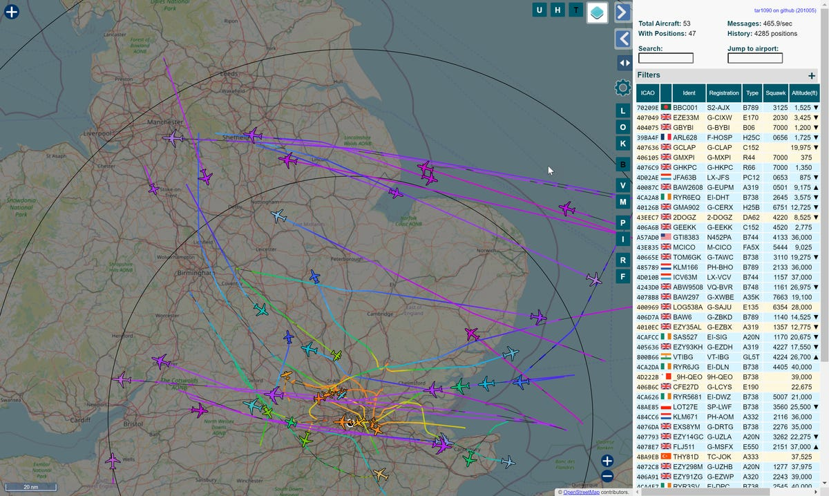 Aircraft over the UK on an autumn afternoon
