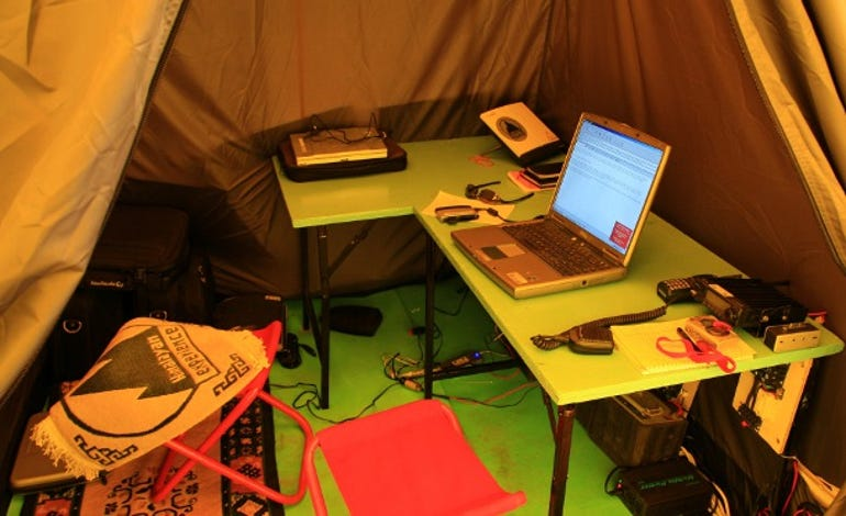 Laptops and satellite phones at base camp
