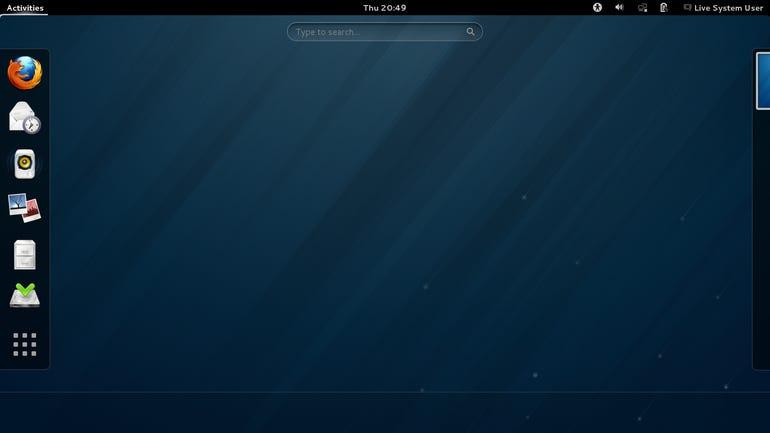The Fedora Live Gnome 3 Desktop