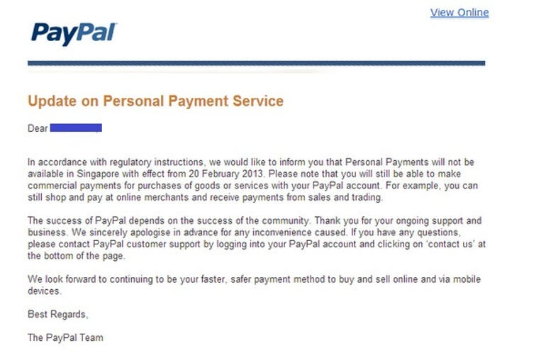 paypal personal payments