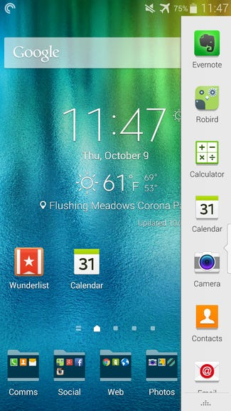 Press and hold the back button to launch the multi-window manager