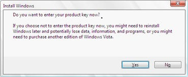 Warning when entering no product key with Vista