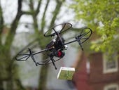 Tethered freefall: Will drones deliver stuff via long ropes?
