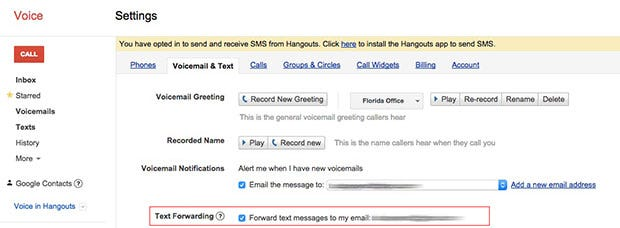 Forward texts to your Gmail account