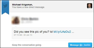 Twitter phishing email DM