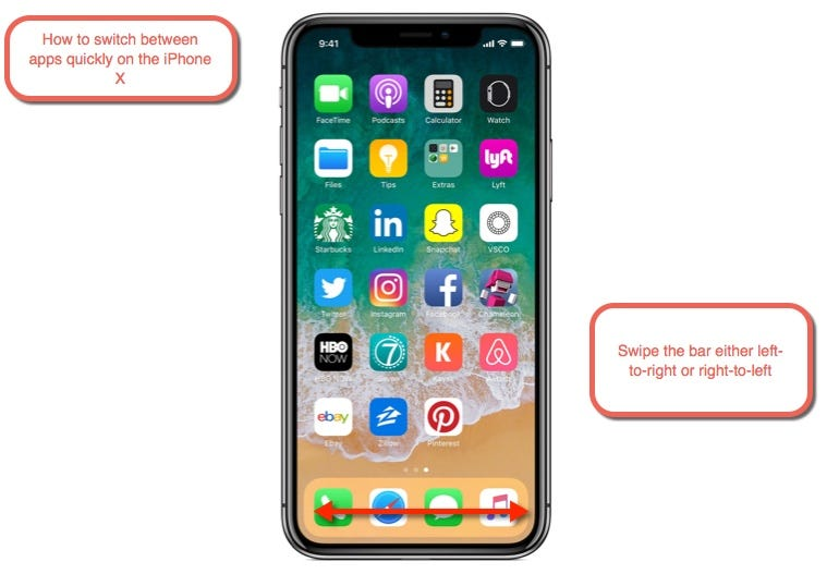 How to switch between open apps quickly on the iPhone X