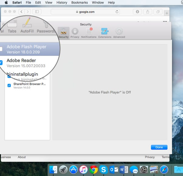 How to disable Flash in Apple Safari