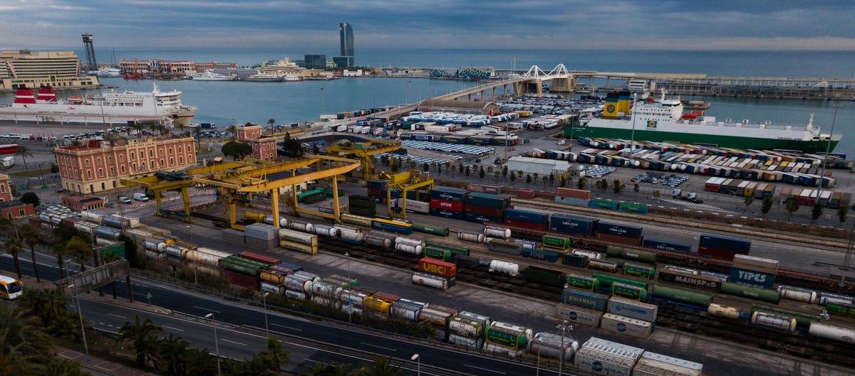 Industrial port of Barcelona in daytime.