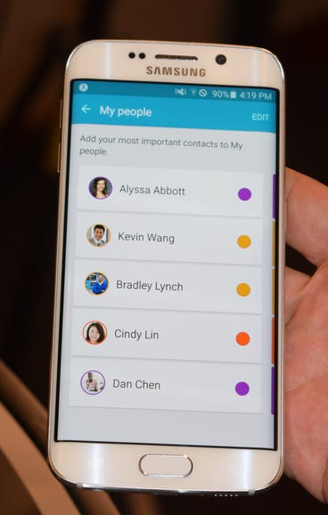 Samsung's Galaxy S6: Color coded contacts