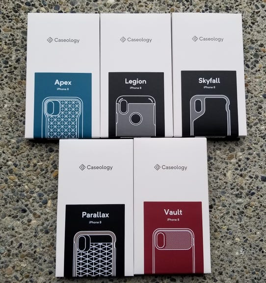 Five of eight available Caseology models for the Apple iPhone X