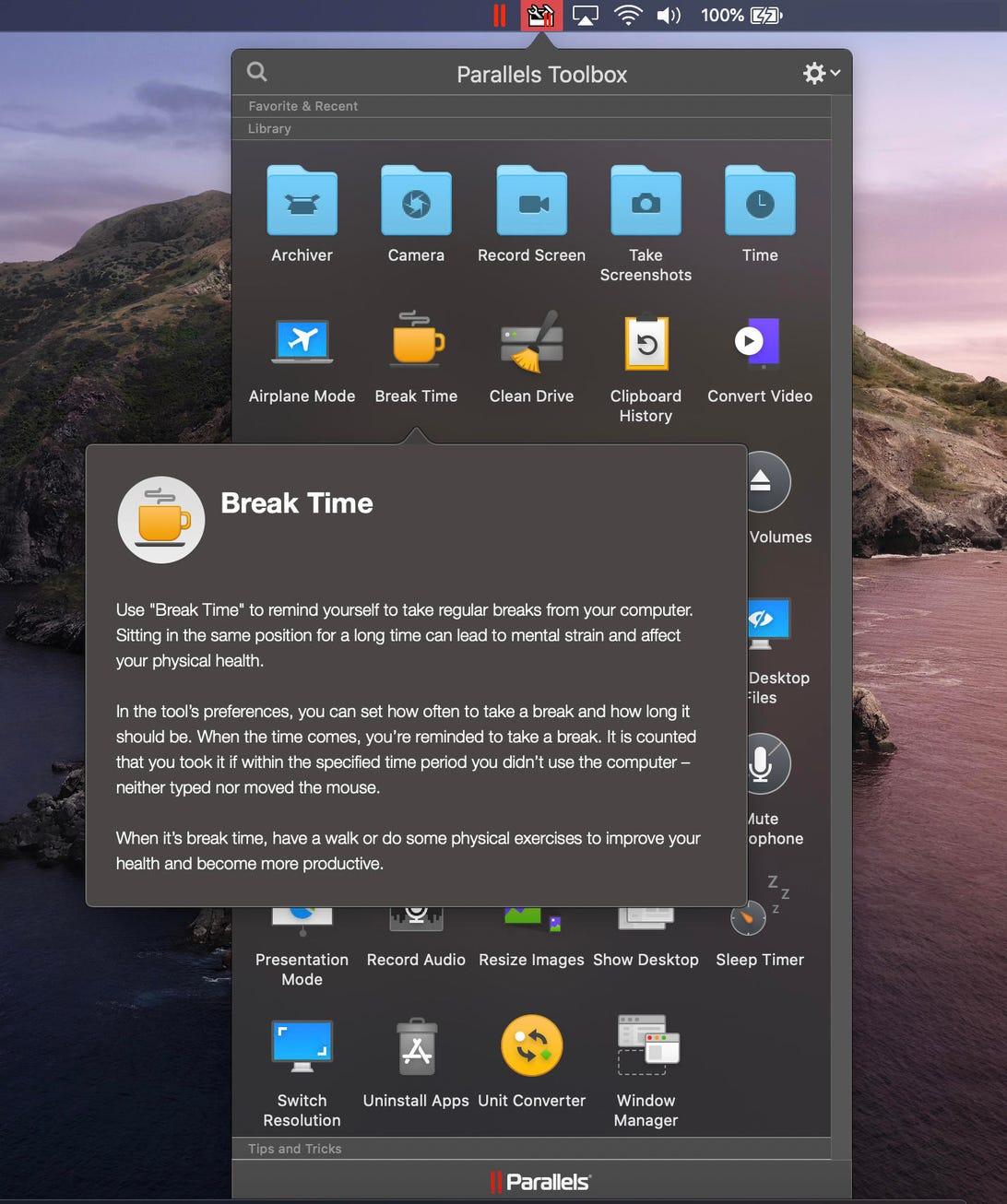 parallels-toolbox-break-time-macos-screenshot