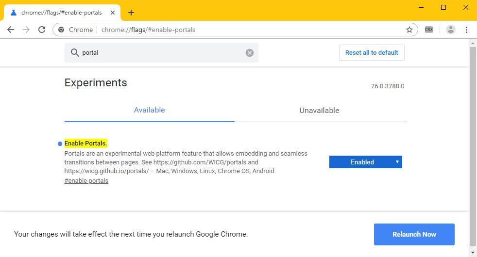 Chrome Portals flag
