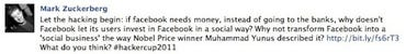 Short lived post on the Zuckerberg fan page, 1/25/2010.