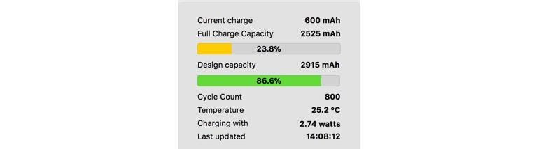 Coconut Battery used to display diagnostic information on the battery powering my aging iPhone 6 Plus