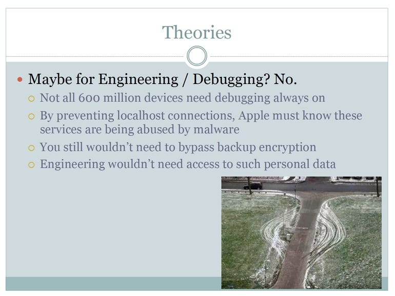 Zdziarski Theory: iOS backdoors not for Engineering / Debugging - Jason O'Grady