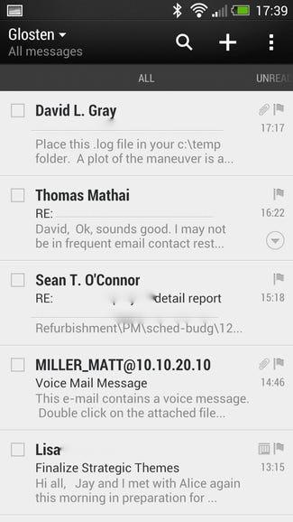 Exchange email on Sense 5 One