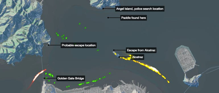 A CartoDB visualization of how prisoners could have escaped Alcatraz.