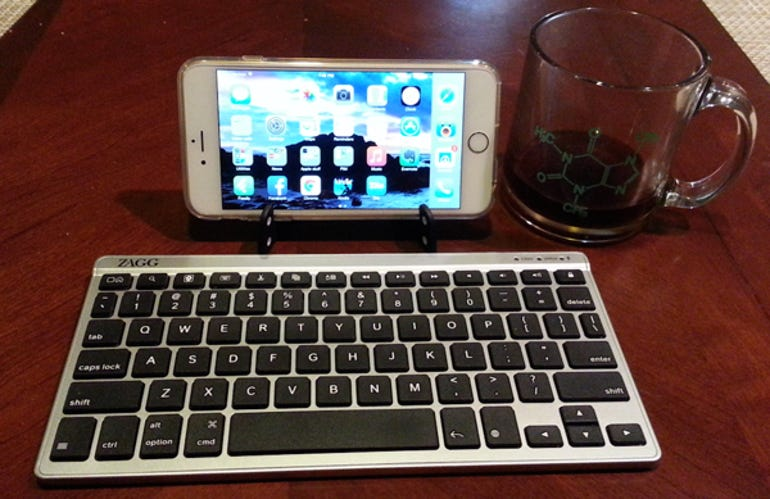 iPhone 6 Plus with keyboard