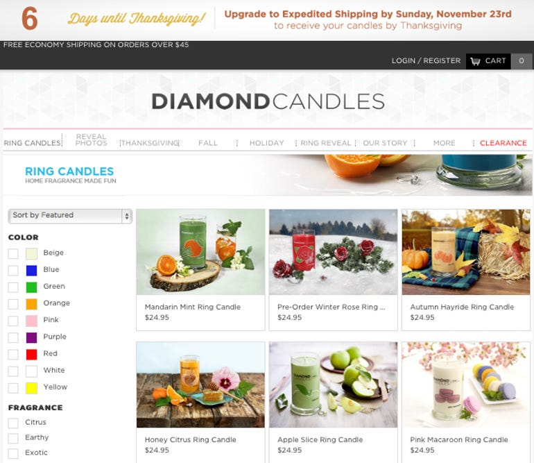 Diamond Candles Ecommerce SIte