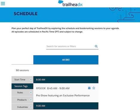 TrailheaDX 2020 Schedule