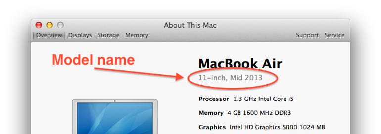 Find your MacBook Air model name