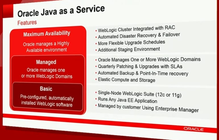oracle java as a service features