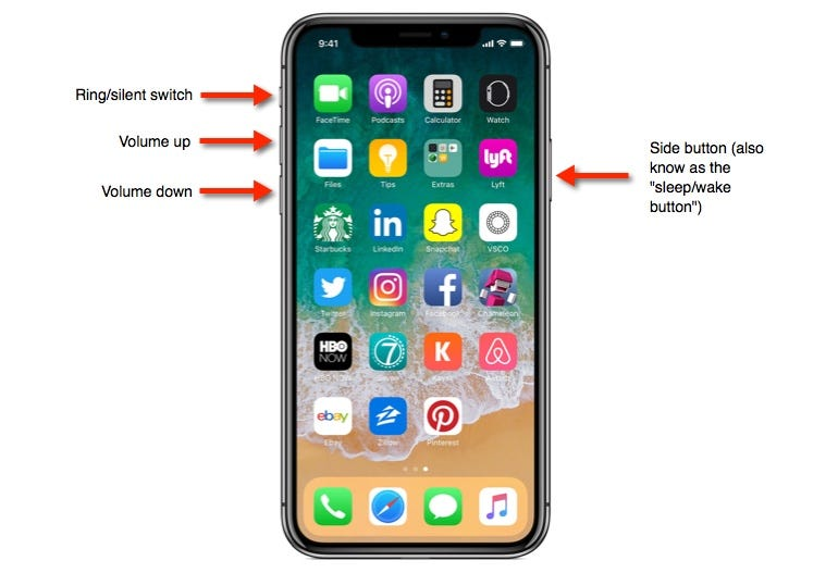 iPhone X button layout