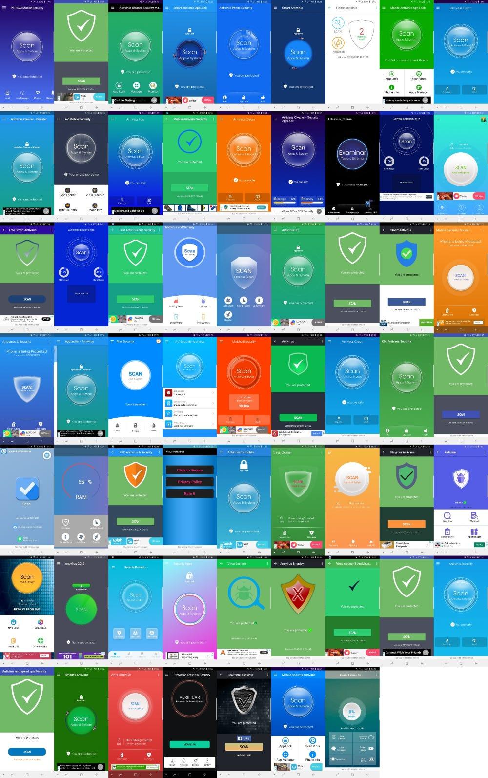 Antivirus apps collage
