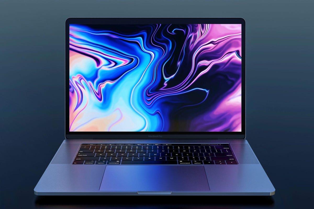 MacBook Pro 2018, frontal view, dark background