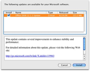 Microsoft releases critical 12.1.1 update for Office 2008