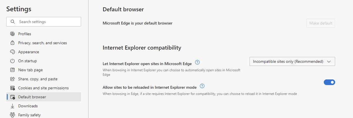 Edge IE mode settings