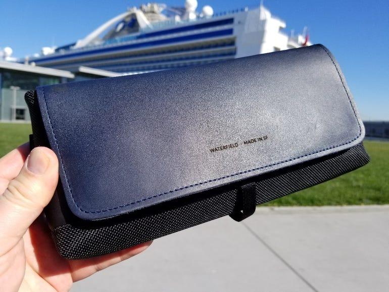 WaterField CitySlicker Nintendo Switch case in blue leather