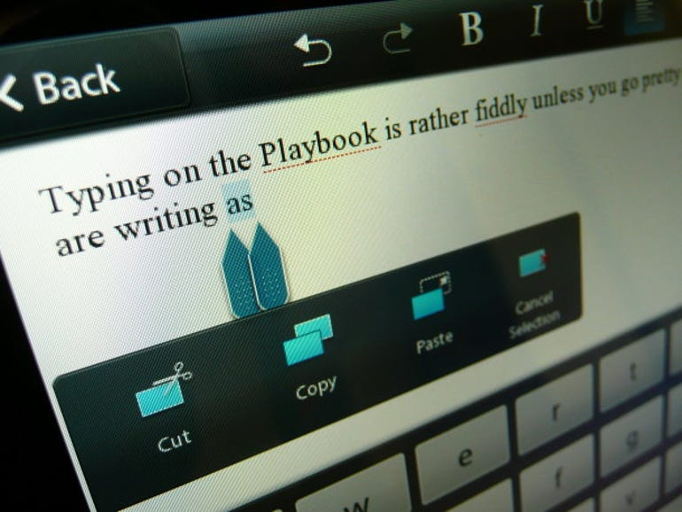 Copy and paste on the PlayBook