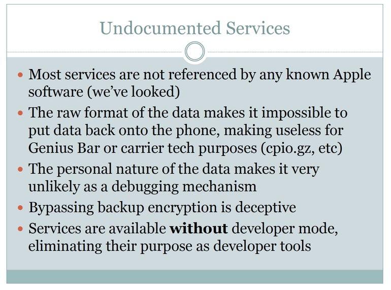 Jonathan Zdziarski's slide on Undocumented iOS Services – Jason O'Grady