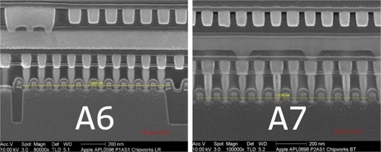 Electron image of Apple's A7 chip next to the A6
