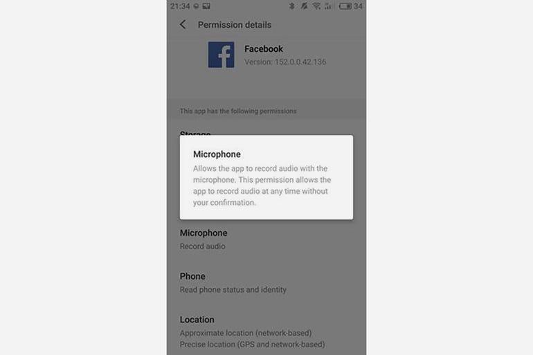Check Facebook mobile app permission