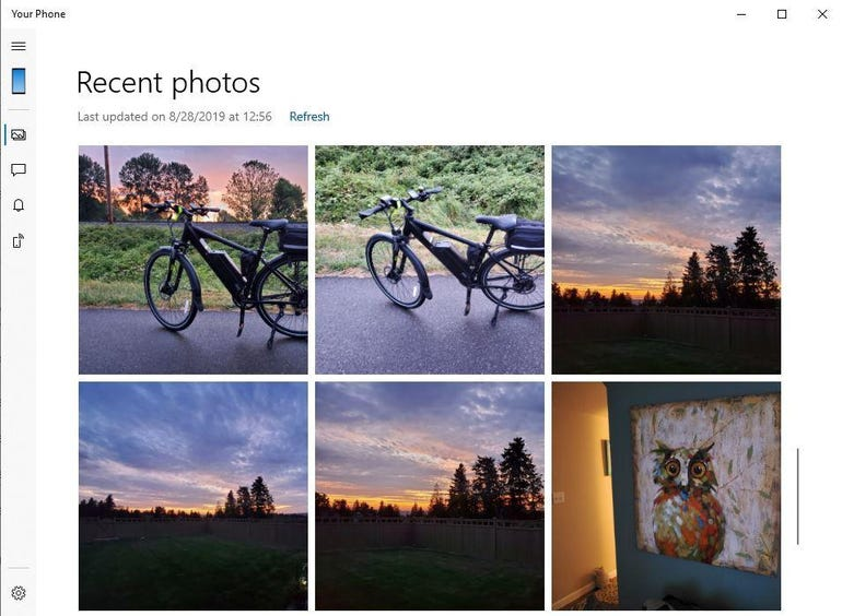 Viewing photos in the Your Phone app