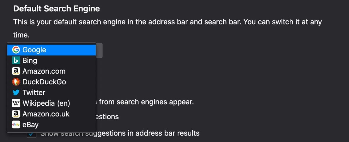 Choose your favorite search engine