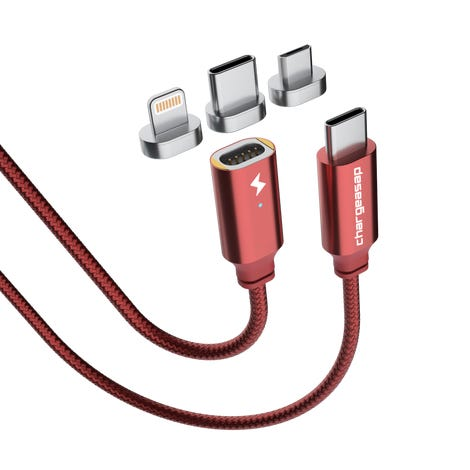 USB cable with magnetic interchangeable heads