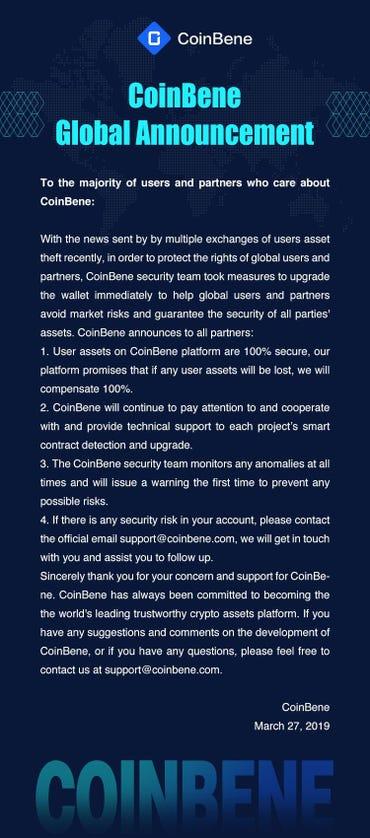 Coinbene hack message
