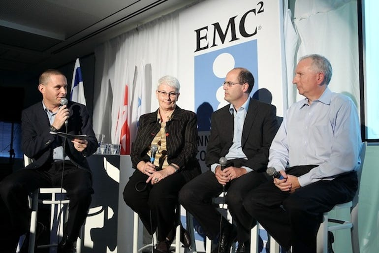 (L. ro R.) Dr, Orna Berry, Israel's Chief Scientist Avi Hasson, and Howard D. Elias at a panel discussion during EMC's Tech Festival in Tel Aviv