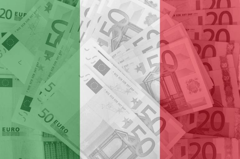 transparent italian flag with euro banknotes