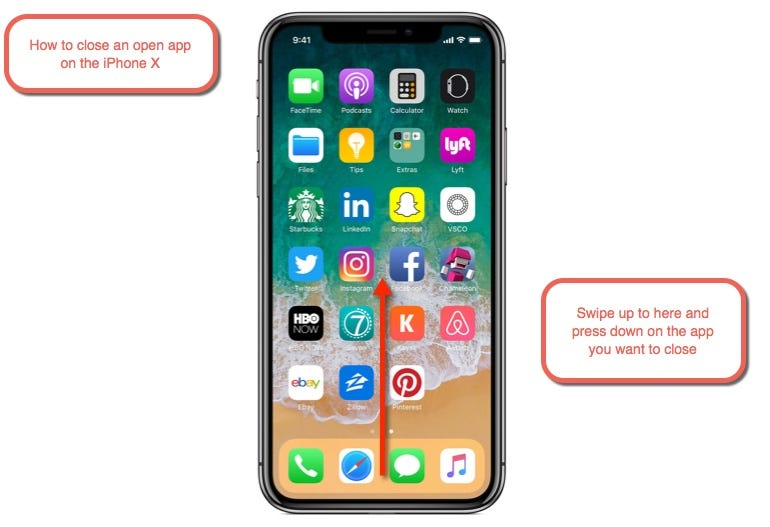 How to close an open app on the iPhone X