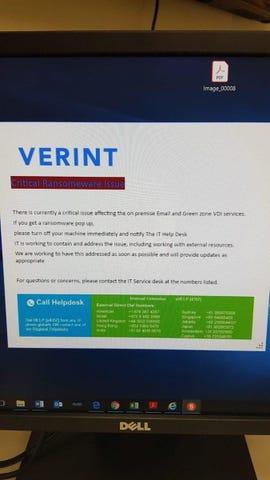 Verint ransomware alert