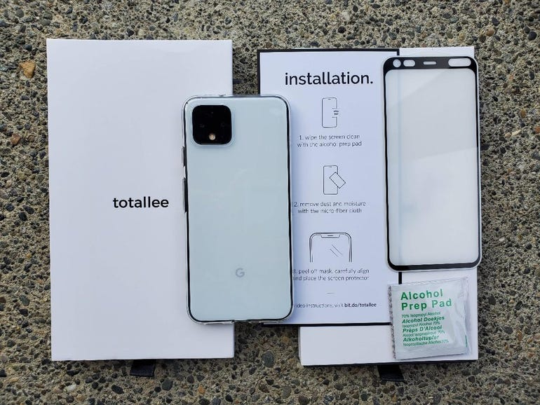Totallee Transparent case and glass screen protector for the Pixel 4